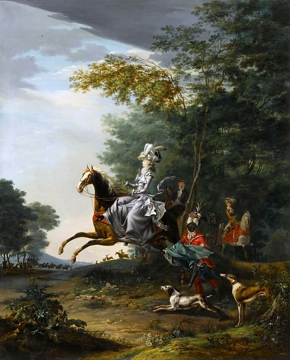 Louis-Auguste Brun -- Marie-Antoinette Hunting with Dogs, followed by Louis XVI. Château de Versailles