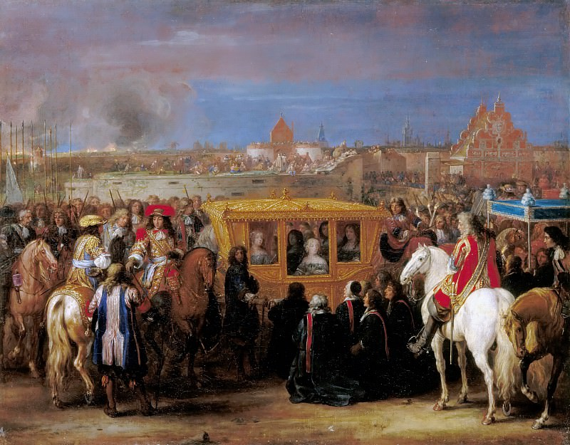 Adam Frans van der Meulen -- Entry of Louis XIV and Maria-Theresa in the city of Douai, 23 August 1667. Château de Versailles