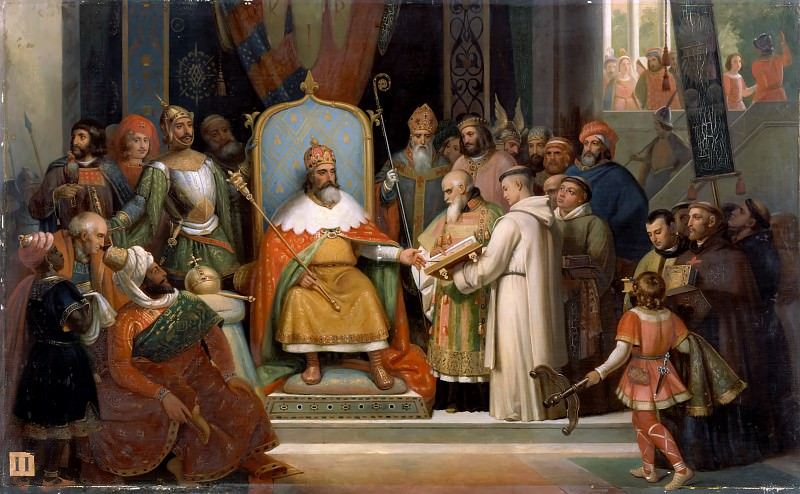 Jules Laure -- Charlemagne, surrounded by his most important officials, receives Alcuin who presents several manuscripts, the works of his monks, to the Emperor in 780 (781) CE. Château de Versailles
