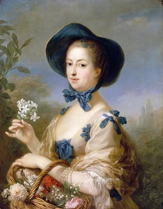 """Carle van Loo -- Jeanne-Antoinette Poisson, Madame Lenormant d'Etiolles, Marquise de Pompadour (1721-1764), portrait called """"Belle Jardiniere"""". Château de Versailles"""