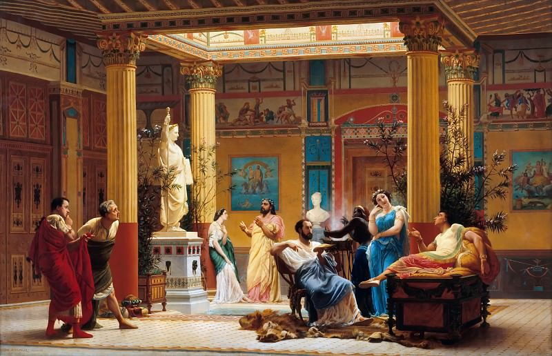 Gustave Boulanger -- Rehersal of The Flute Player and The Wife of Diomedes in the atrium of Prince Napoleon's Pompeian house in Paris in 1860. Château de Versailles