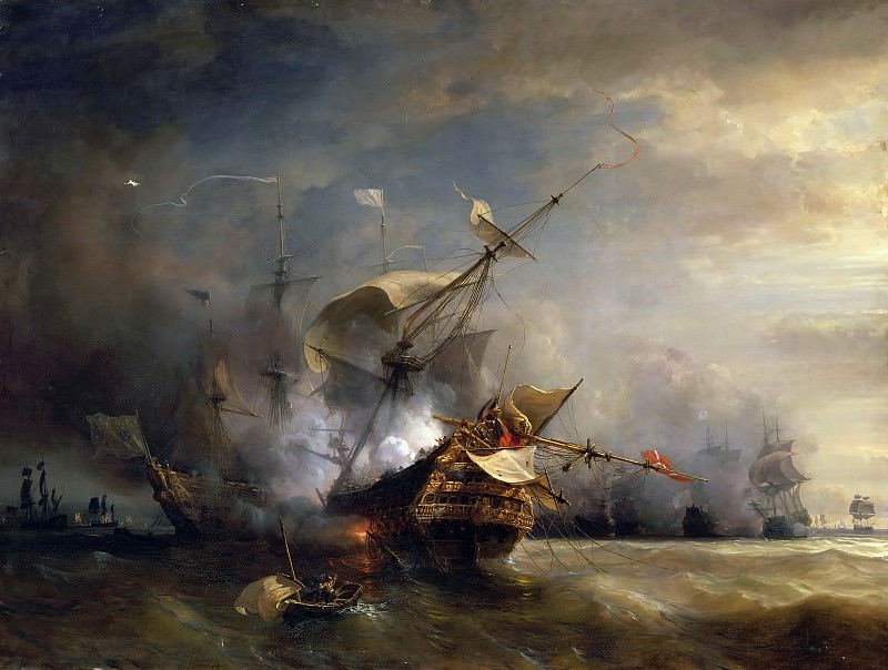 Théodore Gudin -- Naval combat off Cape Lizard in Cornwall, 21 October 1707, won by the French fleet commanded by DuGuay-Trouin and Admiral de Forbin against five English war vessels. Château de Versailles