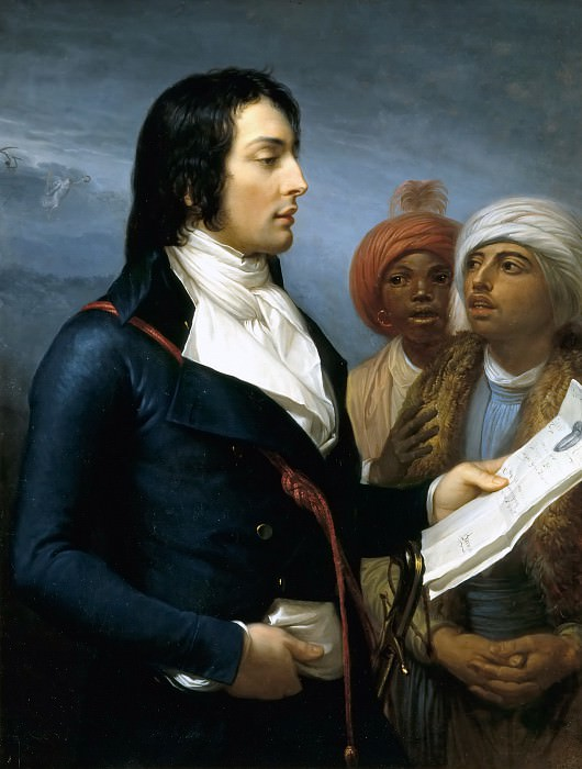 Andrea Appiani, the Elder -- General Louis-Charles-Antoine Desaix reading an order from General Bonaparte to two Egyptians in the Year IX of the French Republic. Château de Versailles