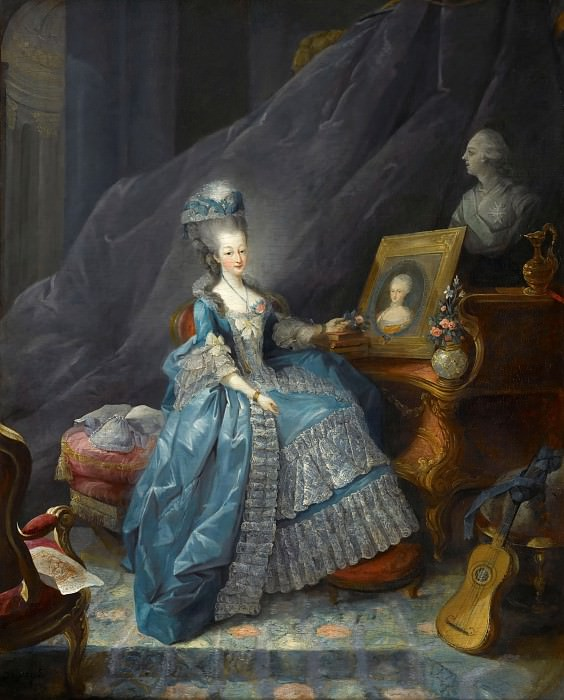 Jean-Baptiste André Gautier-Dagoty -- Marie-Thérèse of Savoy, Comtesse d'Artois, before the Portrait of her Mother Marie-Antoinette-Ferdinande Queen of Sardinia-Piedmont and a Bust of her Husband the Comte d'Artois. Château de Versailles