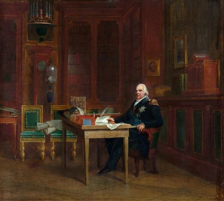 Baron François Gérard -- Louis XVIII, King of France and Navarre, in the Bibliothèque of the Tuileries in 1823. Château de Versailles