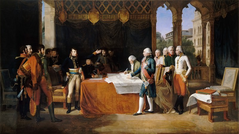 Guillaume Lethiere -- Preliminaries of the peace, signing at Leoben, 17 April 1797. Château de Versailles