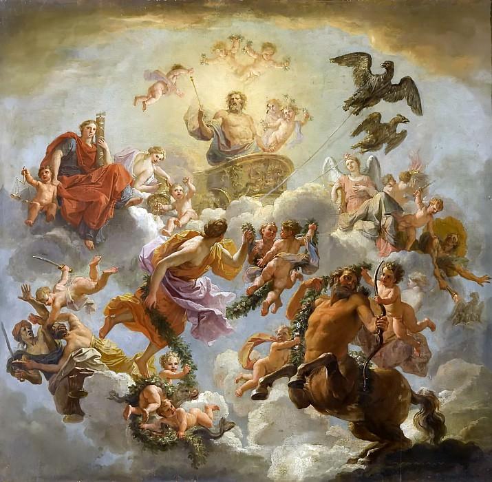 Coypel, Noël -- Le char de Jupiter entre la Justice et la Piété. Château de Versailles