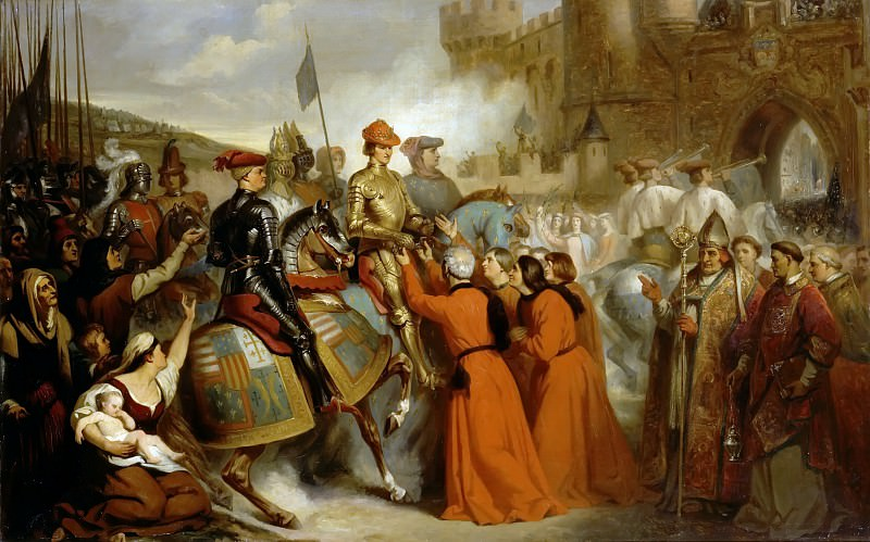 Henri de Caisne -- Entry of Charles VII into Rouen, followed by Dunois and Jacques Coeur, 10 November 1449. Château de Versailles
