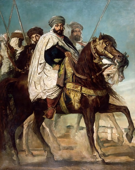 Théodore Chassériau -- Ali-Ben-Hamet, Caliph of Constantine and Chief of the Haractas, followed by his Escort (Ali Ben Ahmed). Château de Versailles