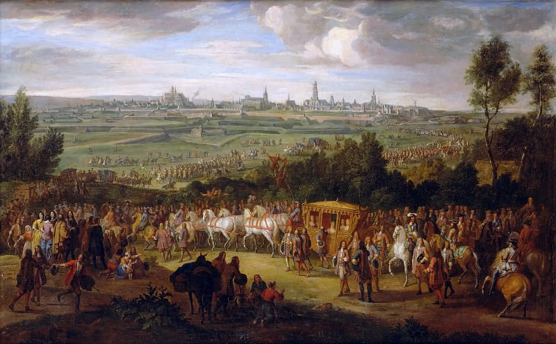 Adam Frans van der Meulen -- Entry of Louis XIV and Maria-Theresia into Arras, 30 July 1667. Château de Versailles
