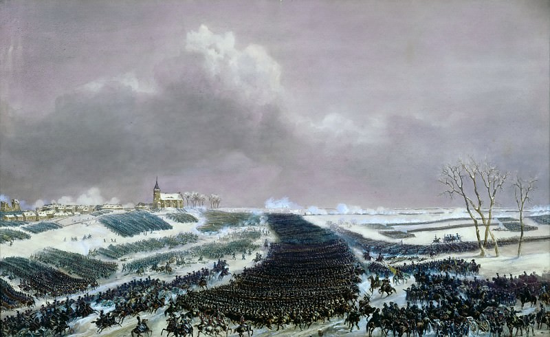 Jean Antoine Simeon Fort -- Battle of Eylau, Febuary 8, 1807. The Russian army pushed back by the French troops. Château de Versailles