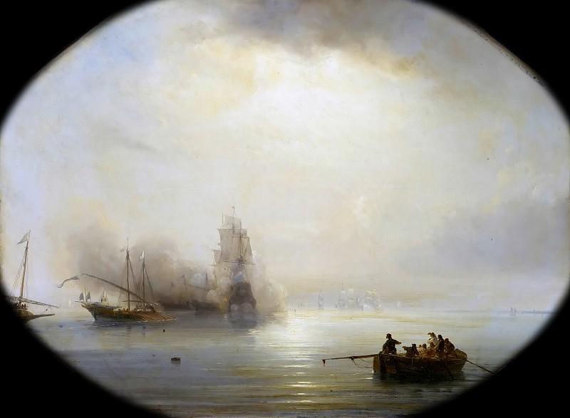 Теодор Гюден -- Французские галеры захватывают голландский корабль, следовавший в Остенде 1 июля 1702 года. Версальский дворец
