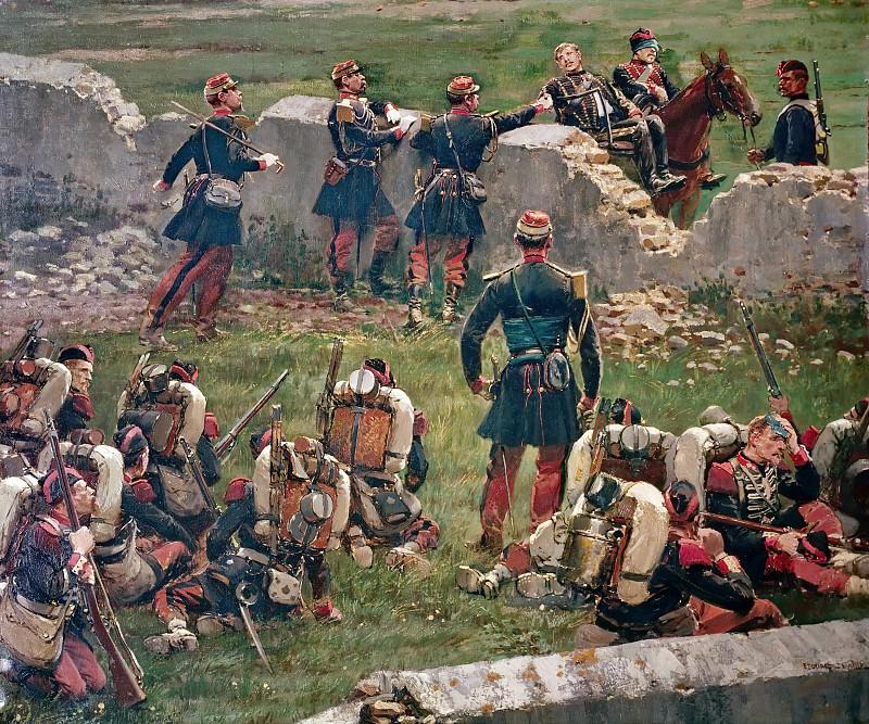 Jean Baptiste Edouard Detaille -- Evening of the battle of Rezonville (Gravelotte). Grenadiers of the Imperial Guard at rest, 16 August 1870. Château de Versailles