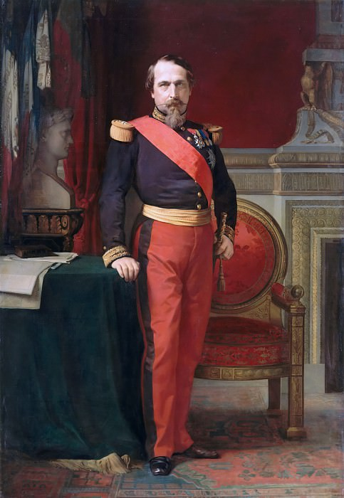 Hippolyte-Jean Flandrin -- Portrait of Napoleon III, wearing the uniform of Brigadier General in his Grand Cabinet at the Tuileries. Château de Versailles