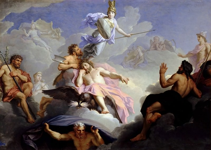 René-Antoine Houasse -- Birth of Minerva, fully armed, from the Brain of Jupiter. Château de Versailles