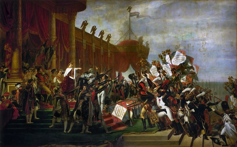 David, Jacques Louis -- The Oath of the Army after the distribution of the Eagles on the Champs de Mars, December 5, 1804. Château de Versailles