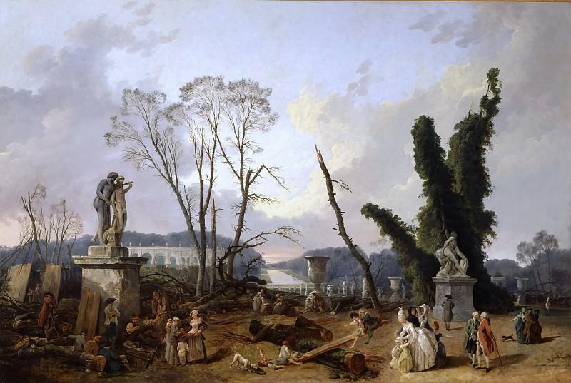 Юбер Робер -- Вход в сады Версаля. Версальский дворец