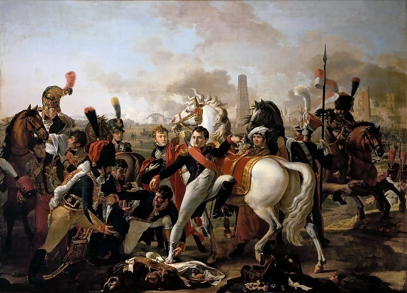 Claude Gautherot -- Napoleon Dismounting with an injured Foot at Regensburg, aided by the Surgeon, Yvan, April 23, 1809. Château de Versailles