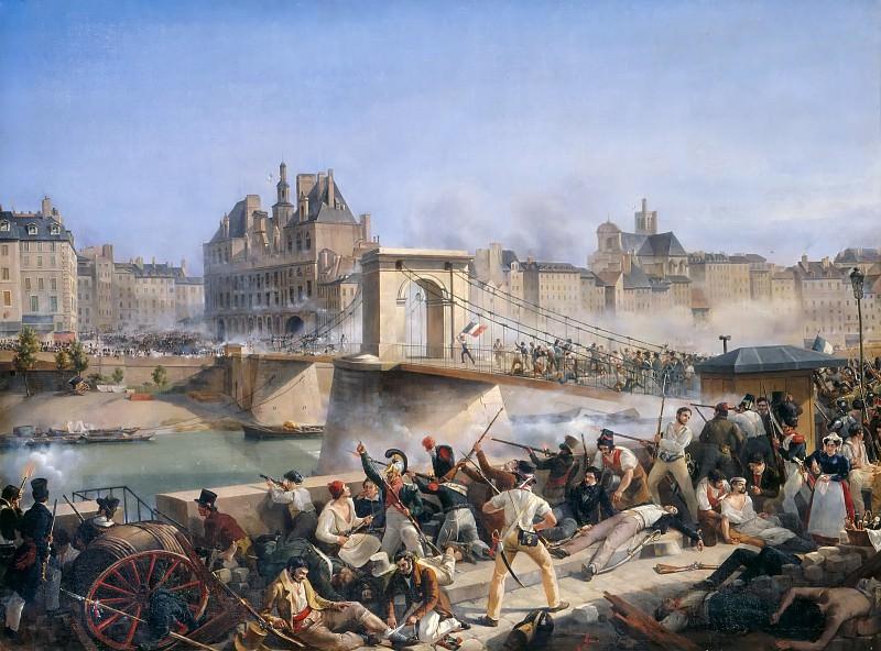 Amédée Bourgeois -- Attack on the Hotel de Ville and Combat on the Pont d'Arcole, July 28, 1830. Château de Versailles