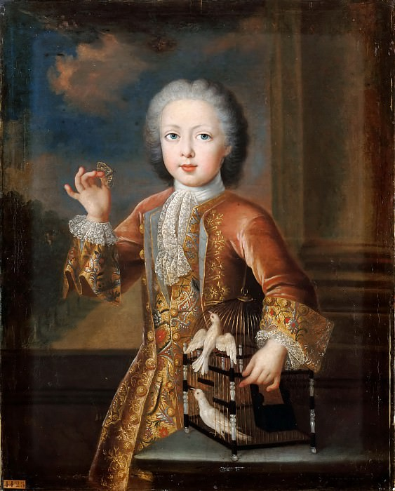 Pierre Gaubert -- Portrait of Francis III of Lorraine, future Emperor Francis I as a Child, holding a Butterfly and Leaning against a Cage containing two Doves (Charles Alexandre de Lorraine). Château de Versailles