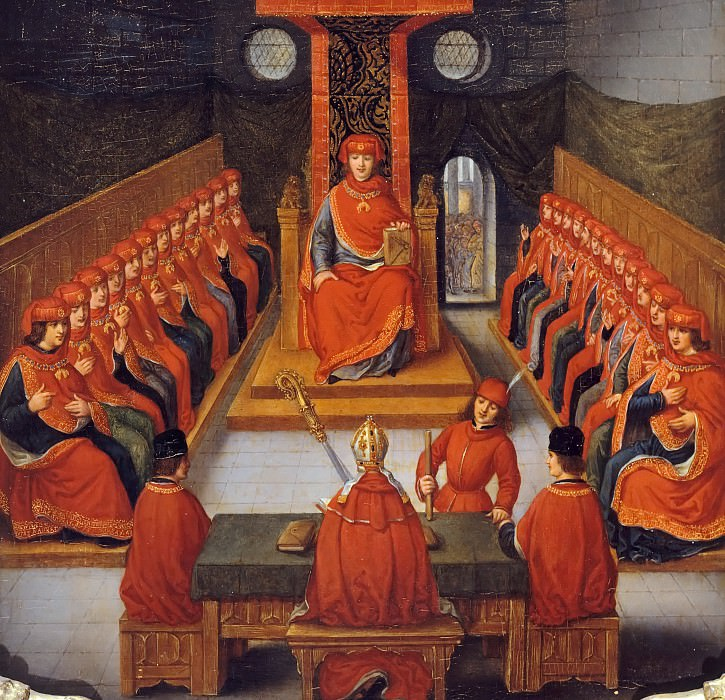 Joseph Albrier, after a 16th Century Flemish painting -- First meeting of the Order of the Golden Fleece held by Philip III the Good, Duke of Burgundy, in the church of Saint-Pierre in Lille, 10 January 1430. Château de Versailles