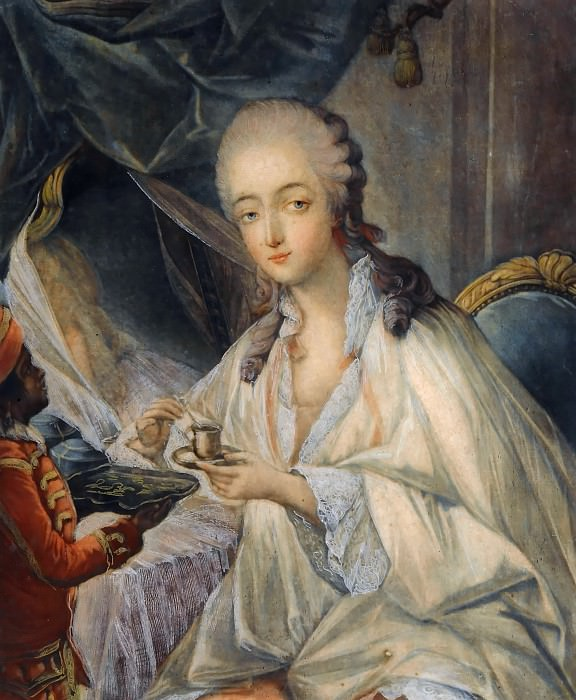 Jean-Baptiste André Gautier-Dagoty -- Madame du Barry at her toilette, to whom Zamor presents a cup of coffee or chocolate. Château de Versailles