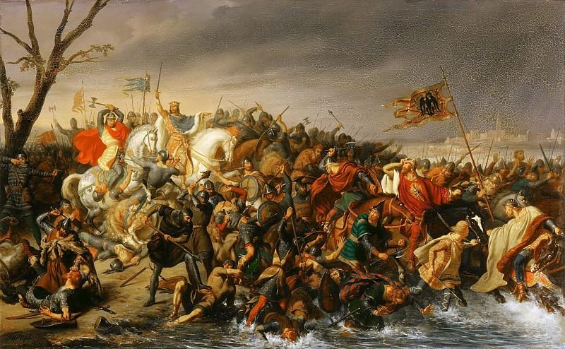 Charles-Barthélémy-Jean Durupt -- Lothar defeats Emperor Otto III on the banks of the Aisne, October 978. Château de Versailles