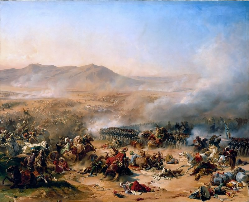 Léon Cogniet and Félix Henri Emmanuel Philippoteaux -- Battle of Mont Thabor, 16 April 1799. Château de Versailles