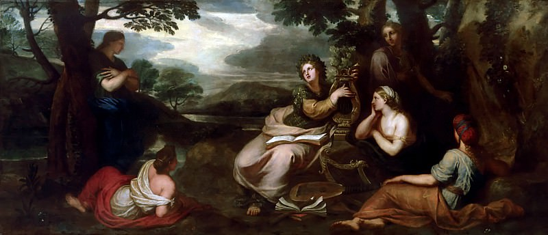 Michel Corneille the younger -- Sappho singing and playing the lyre. Château de Versailles