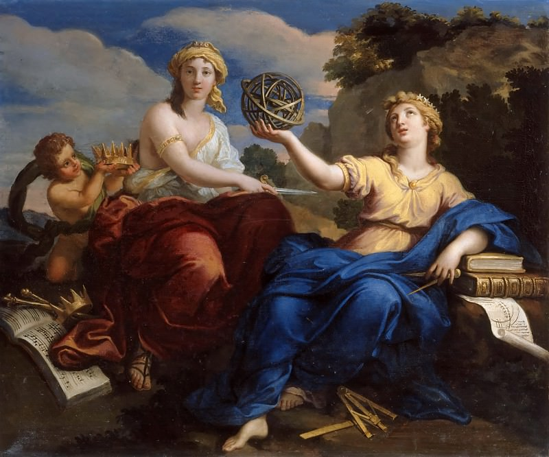 Louis Boullogne the Younger -- The Muses Urania and Melpomene (Uranie et Melpomène). Château de Versailles