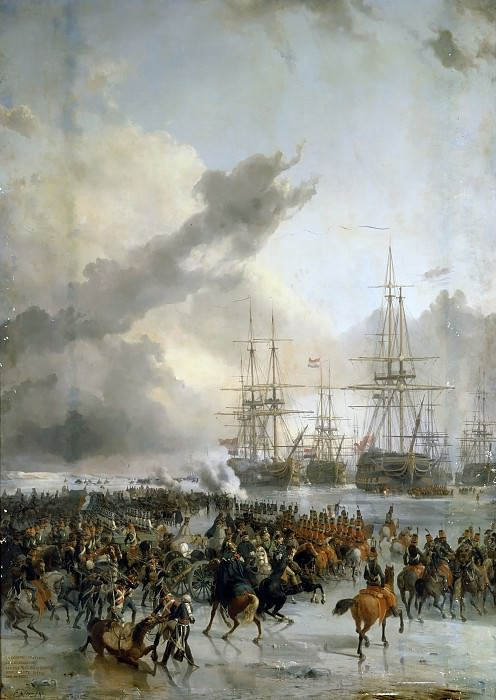 Charles Louis Mozin -- The French cavalry take the battle fleet caught in the ice in the waters of Texel, 21 January 1795. Château de Versailles