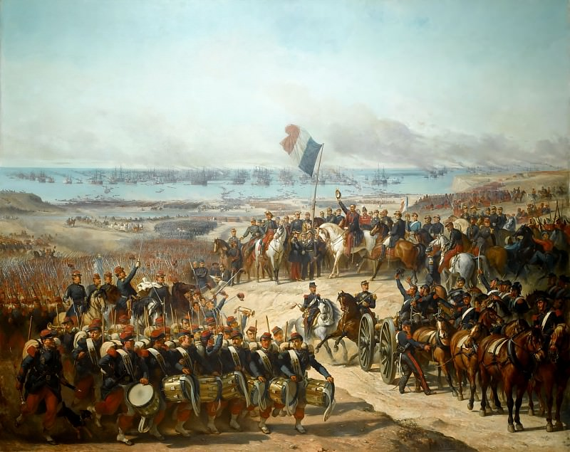 Félix Joseph Barrias -- Disembarkation of the French Army at Old-Port under the Command of Marshals Canrobert and Saint-Arnaud, in presence of Prince Napoléon, General of the Armée d'Orient, 14 September 1854. Château de Versailles