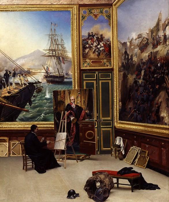 Vernet, Horace -- Frère Philippe copiant le portrait du marquis de Fontanes, Grand-Maître de l'Université, dans la salle 103 du musée de Versailles. Château de Versailles