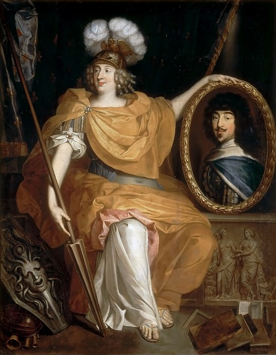 Pierre Bourguignon -- Anne-Marie-Louise d'Orléans, Duchess of Montpensier, La Grande Mademoiselle, as Minerva, Holding a Portrait of her Father, Gaston of France. Château de Versailles