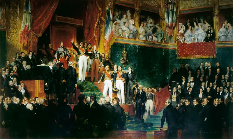 Eugène Devéria -- The King takes an oath, in the presence of the Houses of Parliament, to uphold the Charter of 1830 (9 August 1830). Château de Versailles