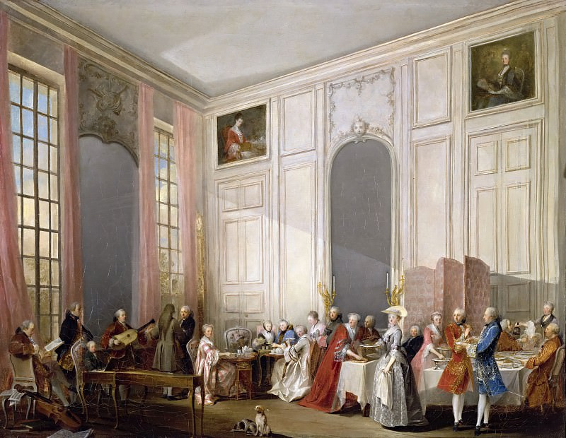 Michel Barthélemy Ollivier -- English tea at the Salon des Quatre Glaces at the Temple, with the Prince de Conti. Château de Versailles