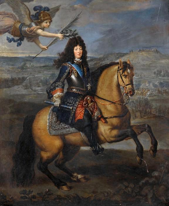 Pierre Mignard I -- Equestrian portrait of Louis XIV before Kassel. Château de Versailles