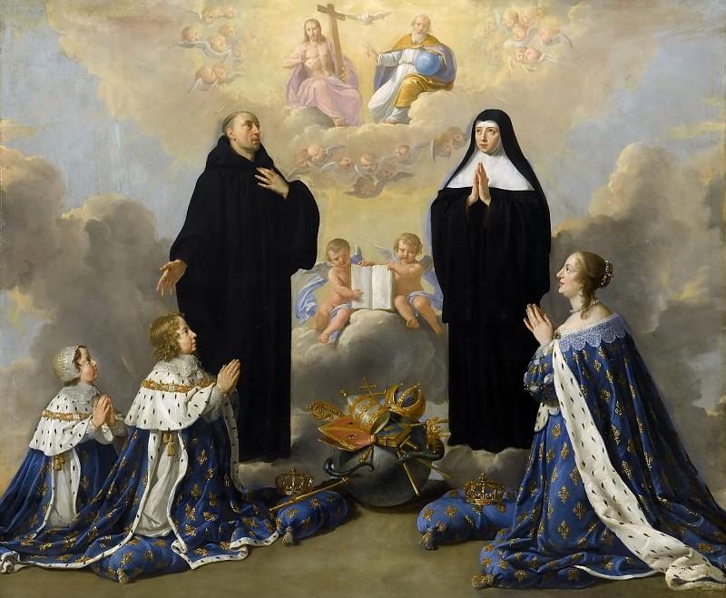 Champaigne (de), Philippe -- Louis XIV, Anne d'Autriche et Philippe d'Anjou présentés à la Trinité par saint Benoît et sainte Scholastique. Château de Versailles