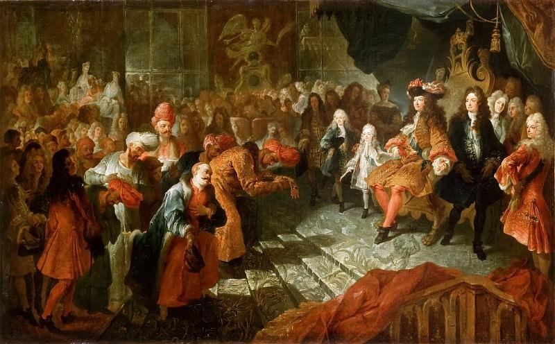 Антуан Куапель -- Людовик XIV принимает персидского посла в зеркальной зале Версаля 19 февраля 1715 года. Версальский дворец