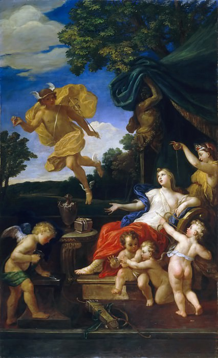 Bon Boullogne -- Venus at her Toilette and Mercury in the Air Holding the Golden Apple of Discord in his Hand. Château de Versailles