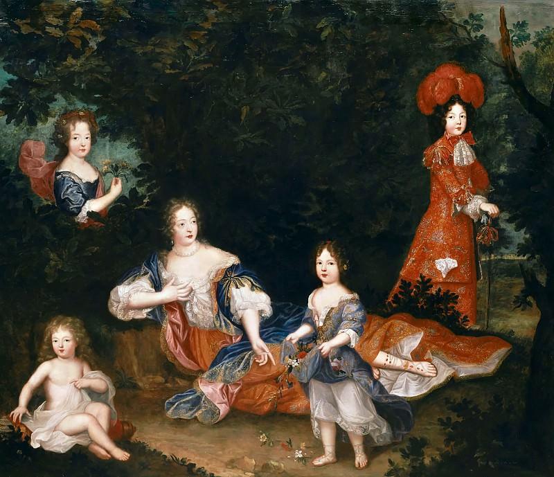 Французская школа -- Мадам де Монтеспан с детьми. Версальский дворец