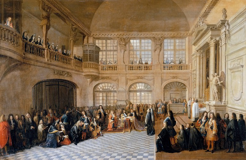 Antoine Pezey -- Louis XIV receiving the oath of the Marquis de Dangeau, Grand Master of the united Orders of Notre Dame of Mont Carmel and of Saint Lazare, in the chapel at the chateau at Versaille, 18 December 1695. Château de Versailles