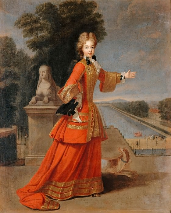 Pierre Gaubert -- Portrait of Marie-Adélaïde de Savoie, Duchesse de Bourgogne, Shown in her Hunting Costume near the Grand Canal of Fontainebleau. Château de Versailles