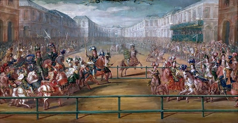 Jean-Baptiste Martin the elder -- The parade of courtly horse-women from the four corners of the world. Château de Versailles