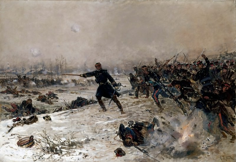 Alphonse de Neuville -- Episode of the War of 1870: Combat at Chennevieres. Château de Versailles