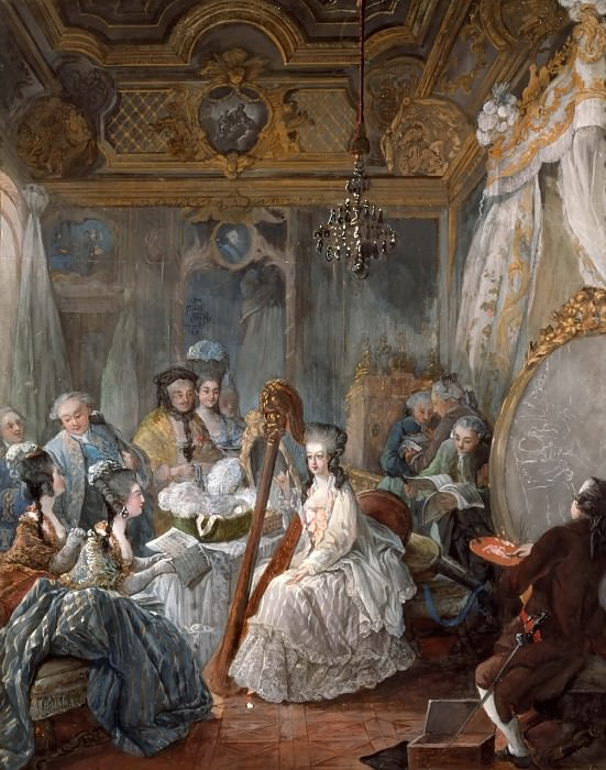 Jean-Baptiste André Gautier-Dagoty -- Marie Antionette Playing the Harp in her Room at Versailles. Château de Versailles