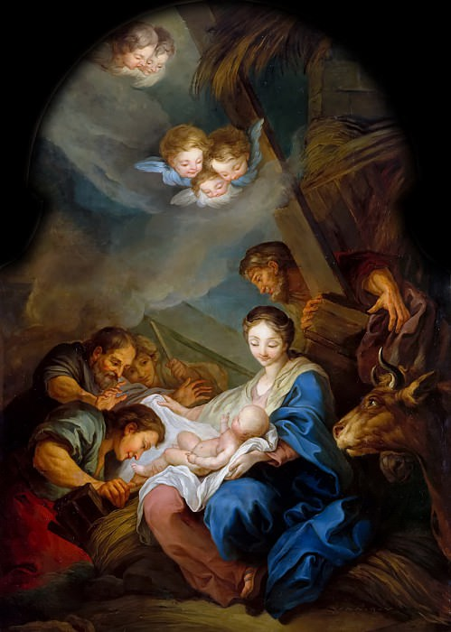 Anonymous French painter after Carle van Loo -- Adoration of the shepherds. Château de Versailles
