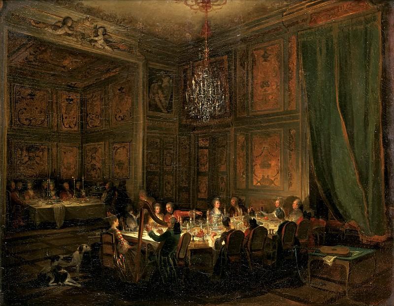 Michel Barthélemy Ollivier -- Supper of Prince de Conti at the Temple, 1766. Château de Versailles
