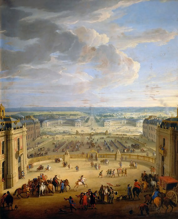 Jean-Baptiste Martin the elder -- View of the stables of the chateau. Château de Versailles
