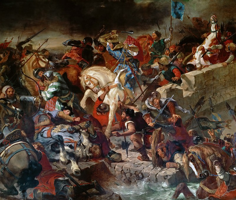 Delacroix,Eugene -- The Battle of Taillebourg between Louis IX, King of France, and Henry III, King of England; July 21, 1242. Château de Versailles